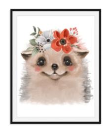 Egeltje met bloemen poster