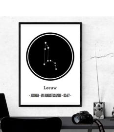 Sterrenbeeld in cirkel - Poster met naam en data