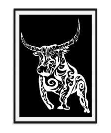 Stoere stier - Poster zwart wit