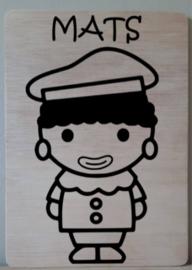 Zwarte Piet met jouw naam op bord