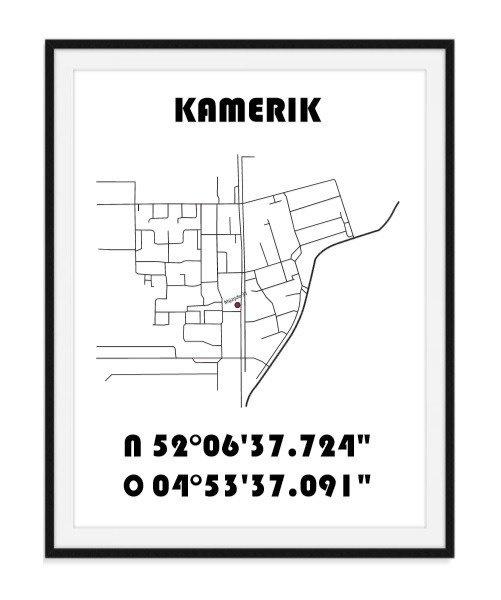 Plattegrond Stad / Dorp - Lijntekening + plaatsbepaling