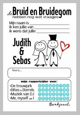 Set van 4 bruiloft wenskaarten editie 2