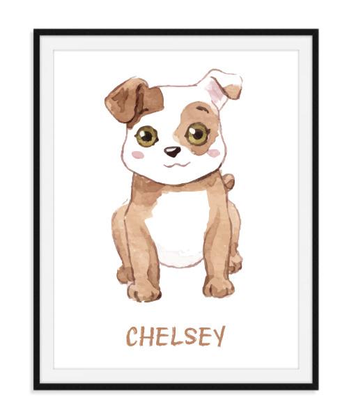 Aquarel poster met hondje - Naam naar keuze