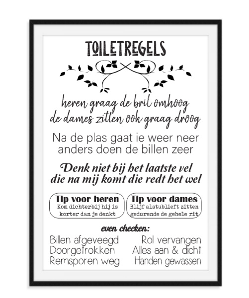 Toiletregels - Hippe wc poster