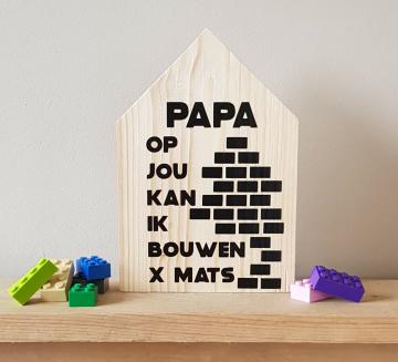 Vaderdag houten huisje met naam