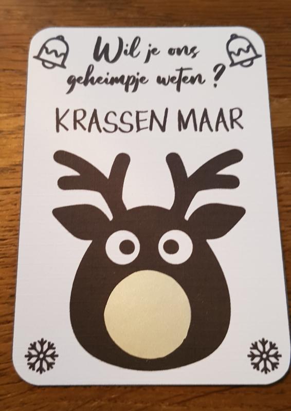 Kraskaart Kerst - Rendier neus