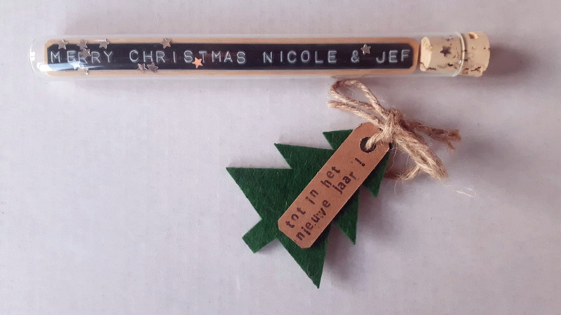 Merry Christmas + Namen - Flessenpost