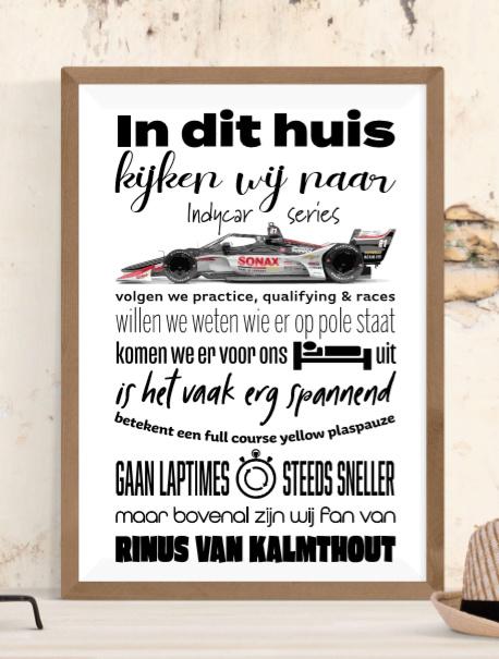 Indycar Fan Poster - met naam naar keuze