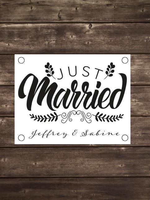 Tuinposter Just Married met namen - Diverse formaten
