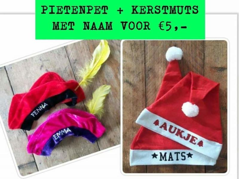 Pietenpet + Kerstmuts met naam voor €5