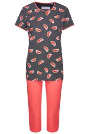 Pyjama korte mouw Ringella ronde hals met fruit-motief en effen broek