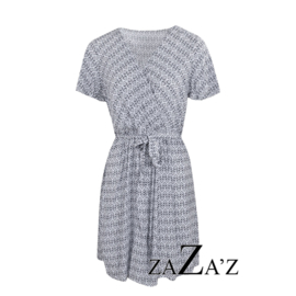 Overslag jurk donkerblauw/wit