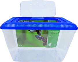 Aquarium kunststof (8,5 ltr) met  blauwe deksel