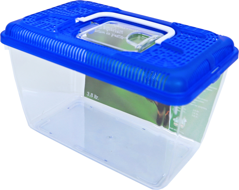 Aquariumbak  (3,8 ltr) met blauwe deksel)