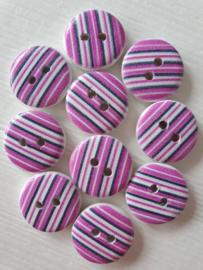 Roze Paarse Houten Knopen 10 stuks