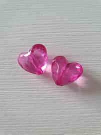 Roze harten kralen 2 stuks