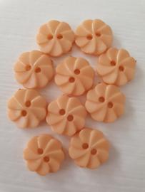 Oranje bloemetjes knoopjes 10 stuks