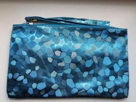 Blauwe clutch - toillettasje