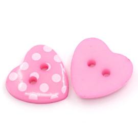 Roze hartjes knopen 10 stuks
