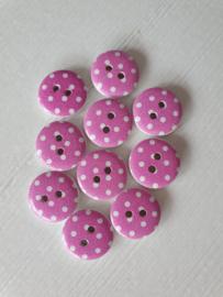 Houten knopen Roze met witte stippen 10 stuks