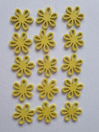 Houten gele bloemetjes