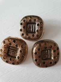 Goud Zwart kleurige vierkante knopen 3 stuks