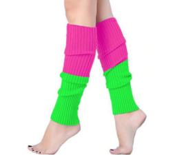 Groen roze neon beenwarmers