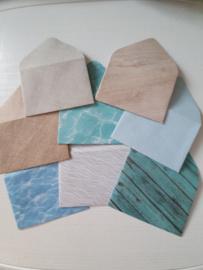 Mini enveloppen 8 stuks oceaan