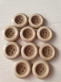 Bruine ronde knopen met rand 10 stuks