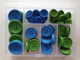 Doos blauwe en groene Houten Knopen