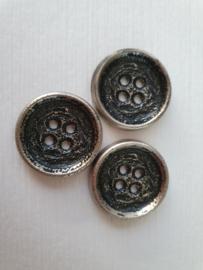 Zwarte zilver knopen 3 stuks