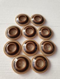 Bruine ronde knopen met strepen 10 stuks