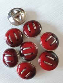 Rode knopen met zilver streepjes 8 stuks