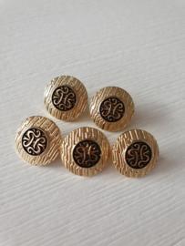 Goudkleurige knoopjes met zwarte cirkel en opdruk in het midden 5 stuks