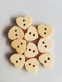 10 Kleine Houten Hartjes Knopen