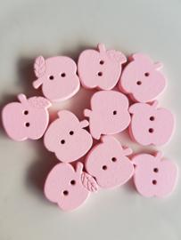 Roze appeltjes houten knopen 10 stuks