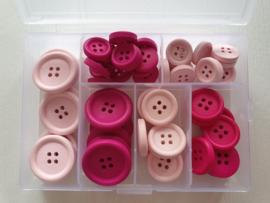 Doosje Roze Houten Knopen