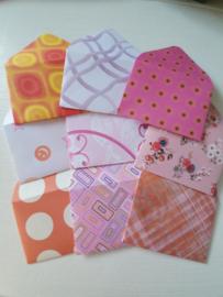 Mini enveloppen 9 stuks roze