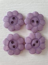 Paarse bloemetjes knopen 6 stuks
