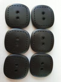 Zwarte knopen 6 stuks