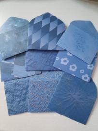 Blauwe mini enveloppen 9 stuks