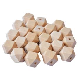 Houten hexagon kralen 10 mm 10 stuks