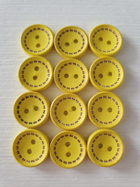 Gele houten knopen 12 stuks