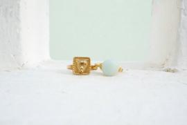 Story Balance – Ring Amazoniet Goud (rond of vierkante steen)