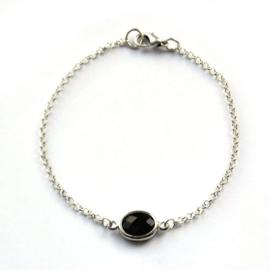 Armband zilver met steen