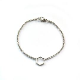 Hexagon armband zilver