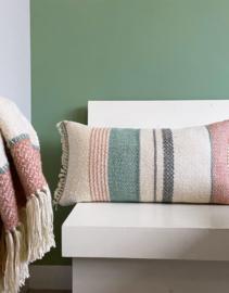Multicolor pastel boucle cushion