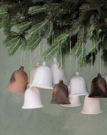 ceramic christmas bell - ecru