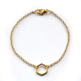 Hexagon armband goud 2 maten