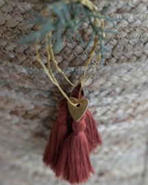 Wire ornament rusty red tassel